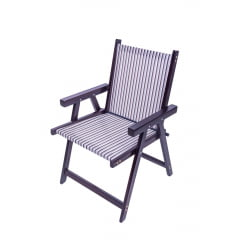 Cadeira  dobravel de madeira com tecido para varanda e jardim kit com 2 unidades