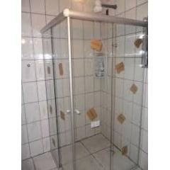 Box para banheiro de canto - Vidro Incolor Com kit Fosco